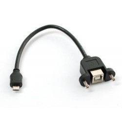 Panel Mount USB Cable - B Female to Micro-B Male, length 150mm, RoHS
