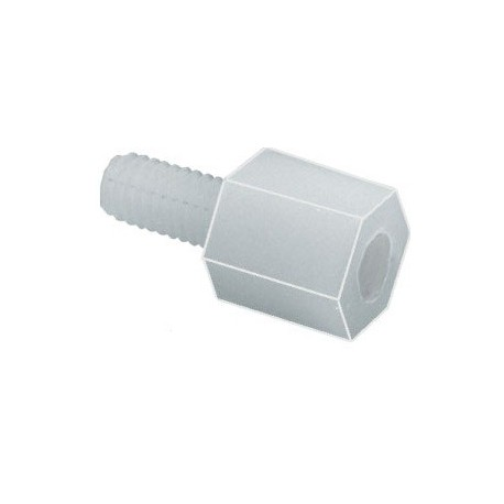 M-F threaded bushing M3, length 5mm, white polyamide
