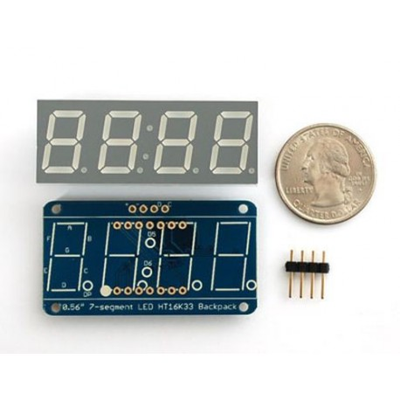 Wyświetlacz LED 7 segmentów, 4 cyfry, I2C, zielony